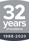 32 years experience badge